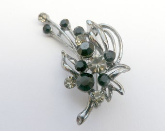 Silver tone brooch, flower spray brooch, black rhinestones, white crystals,  presentation box, vintage jewellery, costume jewelry