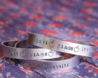 Love teach inspire bracelet,it takes a big heart to teach little minds bracelet , Preschool teacher gift, teacher gift, kindergarten teacher