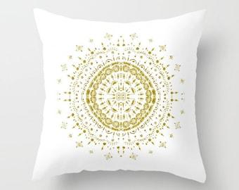 Gold White Mandala Throw Pillow, gold throw pillow, white throw pillow, gold white pillow, medallion pillow, gold mandala pillow
