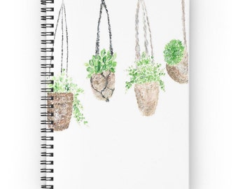 Hanging Plant Notebook, house plants, cactus journal, indoor garden, cactus notebook, plant notebook, plants notebook, garden notebook