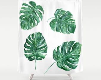 Monstera Leaf Shower Curtain, monstera leaf curtain, palm shower curtain, palm leaf shower, monstera leaf shower, palm leaf curtain