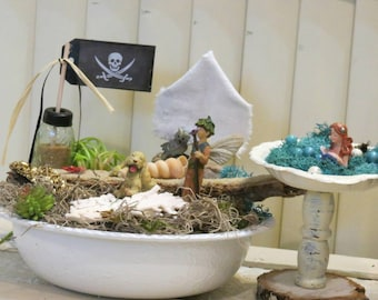 Complete Fairy Garden Kit with Container, Pirate Theme, Handmade Items, Unique. Tasteful and Adorable, FREE shipping