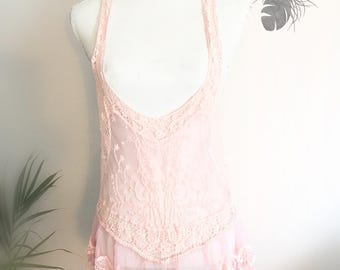 Pink lace top-  romantic mood clothing from the past- vintage lace- bohemian girly wear