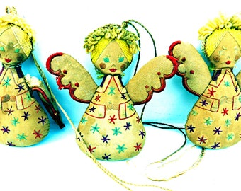 Victorian Christmas Tree Cloth Angels Rustic Cottage Christmas Ornaments
