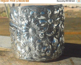 ON SALE 50% OFF Sunflowers Gorham Antique Solid Sterling Silver 925 Floral Repoussé Cuff Bracelet Bouquet .925 Victorian Embossed Art Nouvea