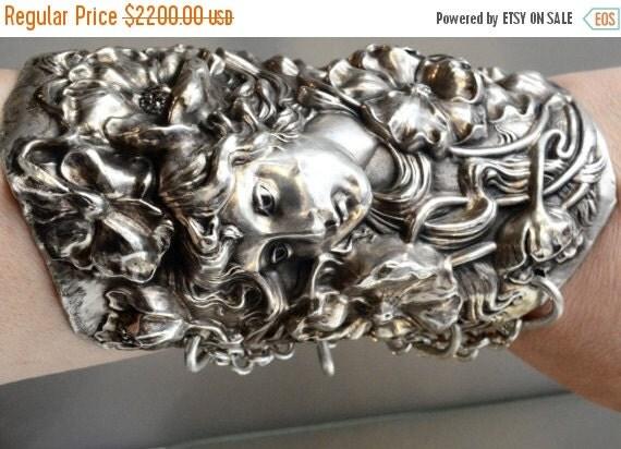 SALE 40% OFF Massive Art Nouveau Goddess Antique Solid Sterling Silver 925 .925 Wide Cuff Bracelet Bracer Medusa Maiden Bracer Lady Face Vic