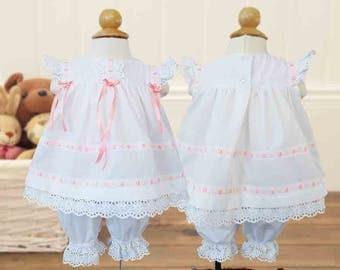 Vintage Baby, Infant, Toddler, Custom Heirloom Style Pinafore, Bonnet, and Bloomers Set, Newborn to Large, White or Ivory