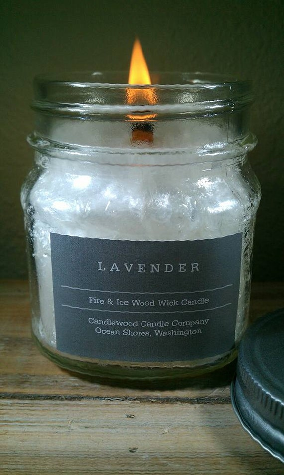 LAVENDER - New Fire & Ice Wood Wick Candle with Pewter Lid - 9 oz - Free Shipping in the USA