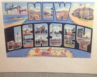 New Jersey Kitchen Towel With Vintage State Postcard Design