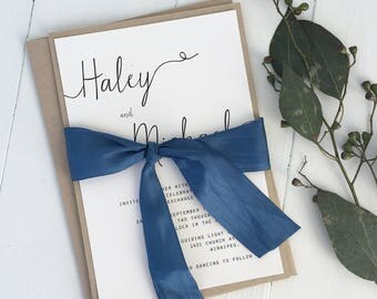 Modern Wedding Invitation, Simple Wedding Invitation, Rustic Wedding Invitation, wedding Invitation Set. Hand dyed silk ribbon.