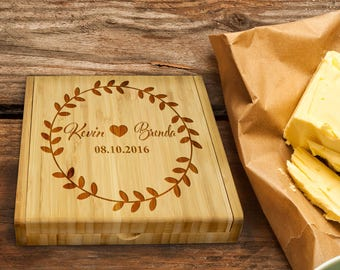 Personalized Cheese Board Set/Engraved/Wreath/Wedding Gift/Shower Gift/Housewarming/Mother's Day, Cheese Knife/Wine Lover/Fern