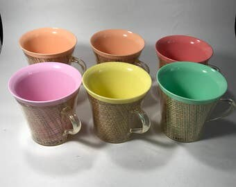 Retro Plastic Outdoor Mug Set Pastel Colors Picnic Camping Straw