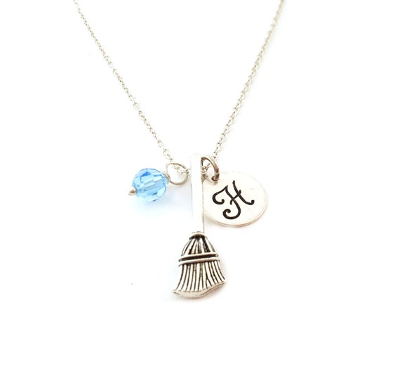 Broom Necklace -  Witch Charm - Swarovski Crystal Birthstone Necklace - Personalized Initial Sterling Silver Jewelry - Gift for Her