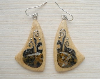 Wooden inlaid earrings