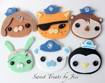 Set of 12 Octonauts Fondant Edible Cupcake Toppers