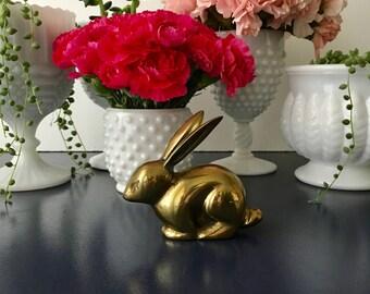 vintage small brass bunny figurine rabbit nursery