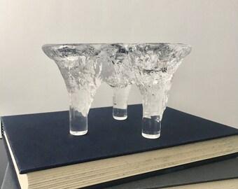 vintage Kosta Boda candlestick 3 footed art glass
