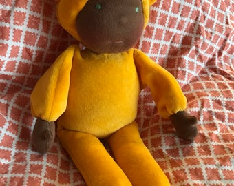 "Waldorf Doll 12"" cuddle doll yellow cotton velour ready to ship"