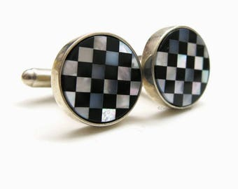 Vintage cufflinks| 925er sterling silver | Mother of Pearl and Onyx Cufflinks