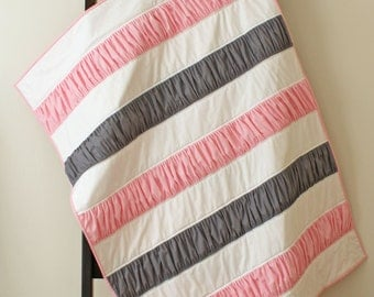 Ruffle Quilt, Pink, Gray, Grey, Girl, Blanket, Throw, Cot, Bed, Kona Cotton, Modern, Stripes