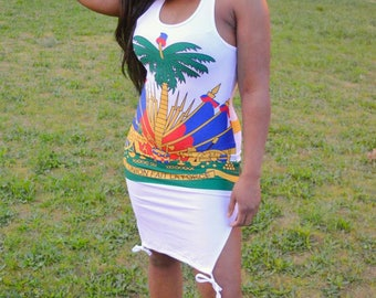 Haiti Flag Shirt Dress  White
