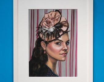 Fine Art Giclee Print From Original Oil Portrait Young Woman With Hat