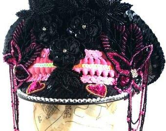 PINKISSIMO - Embellished Hat - burlesque costume burningman festival glastonbury dance showgirl party ibiza
