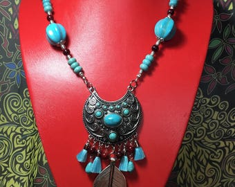 Turquoise and Tibetan Silver Necklace.