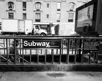 New York City, Subway, Photography of NYC, Black and White Photography, NY Inspired Artwork, Street Photography, NYC Subway, Fine Art Photo