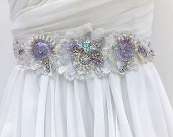 Beaded Lace Bridal Sash, Wedding Sash In Lavender And Ivory With Crystals And Pearls, Wedding Dress Sash, Flower Sash, Bridal Belt