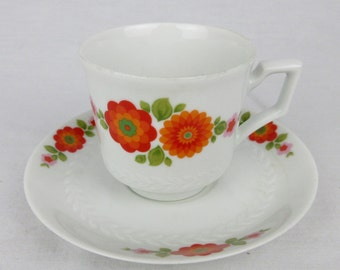 Vintage Demitasse / Espresso Cup & Saucer Set of Six, Bavaria