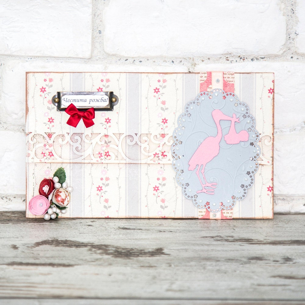 Newborn baby girl greeting card money wallet gift holder baby request a custom order and have something made just for you negle Gallery