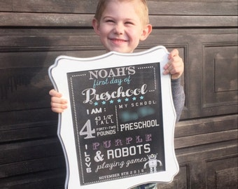 First Day of School Sign, Custom Preschool Sign, Chalkboard sign, Digital Download Blackboard sign, Kid's School Sign