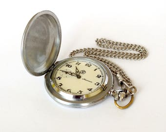 Mechanical men's pocket watch MOLNIJA from hunting collection. Vintage pocket watch with original chain. Russian pocket watches for men