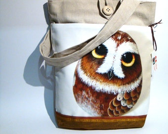 Brown owl, hand made tote bag, painted rock photography, forest's animals, wearable art