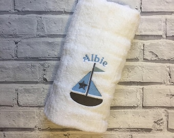 Personalised baby boy bath towel. Boat towel. Nautical Towel. Swimming towel. Personalised Baby towel. Newborn baby shower gift. Bath towel