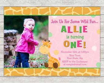 Giraffe Girl Birthday Invitation - Printable File or Printed Invitations