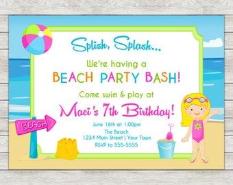 Beach Birthday Invitation, Beach Girl Invite - Printable File or Printed Invitations
