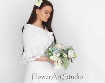 White Wedding Wrap Bridal Shawl Bridal Cover Up Wedding Bolero White Shrug Crochet Shawl White Knitted Capelet Bridal Cape Bridesmaid Shawl