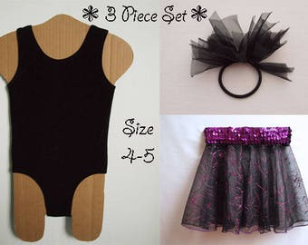 Black Dance Set Includes Smooth Velvet Tank Leotard, Sheer Circle Dance Skirt with Sequins and Glitter and Ponytail Pouf