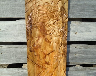 Large Hand carved wall art - Wood spirit - Large Panel artwork - Hand wood carving - Female artwork - Wood panel art - Original art, Carving