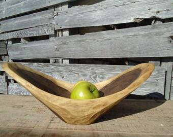 Hand carved wood bowl - Wood fruit bowl - Table centerpiece - Wooden bowl - Natural edge wood bowl - Black walnut wood bowl - Wood bowl, Art