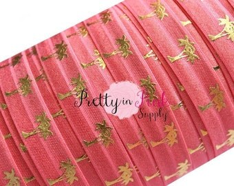 Coral and Gold Metallic Palm Tree Print Elastic- Summer Elastic Under the Sea FOE Beach Theme