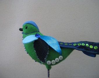 Blue Fabric Bird, Mother's day gift, Felt Bird, Green Bird, Beaded Bird, Blue Bird