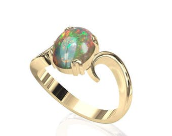 10x8mm Natural Australian Black Opal Ring in 14K or 18K Gold SKU: R2266