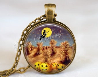 halloween necklace halloween pendant pumpkin necklace pumpkin jewelry witch jack o - Halloween Corn Stalks