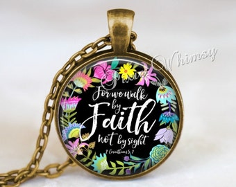BIBLE SCRIPTURE Pendant Necklace Walk In Faith, Bible Jewelry, Christian Necklace, Bible Keychain, Quote Pendant Word Necklace, Bible Verse