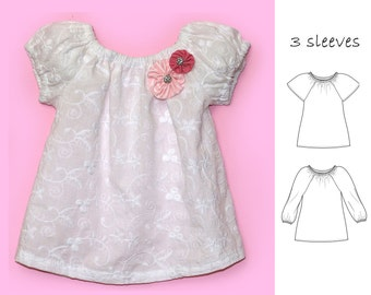VERY EASY baby sewing pattern pdf, Baby peasant top pattern pdf, NATALIE baby