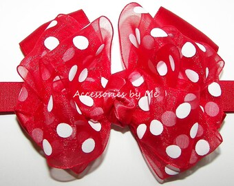 Red Polka Dot Headband, Baby Headbands, Minnie Mouse Bow Band, Infant Headband, Newborn Headband, Girls Headband, Matching Bows and Socks