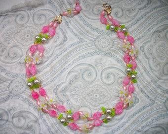 Vintage Double Strand Fruit Salad Necklace